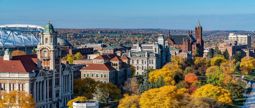 Aerial view of campus in the fall.